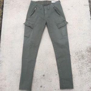 Rag and Bone Green Olive Khaki Zipper Jeans